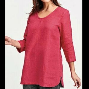 Flax deep red scoop neck linen tunic top medium